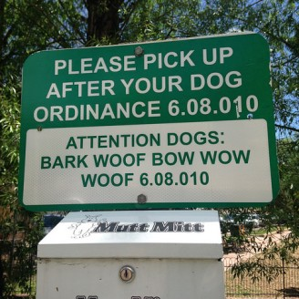 Funny dog ordinance sign