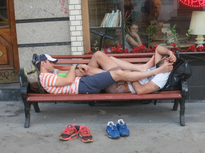 Guys on a bench in Moscow