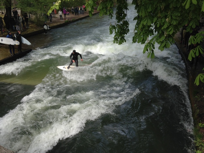 River surfers in Munich Germany