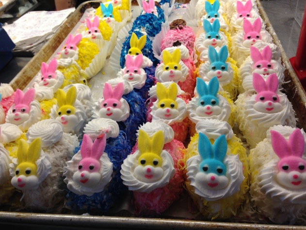 Colorful bunny shaped Easter treats