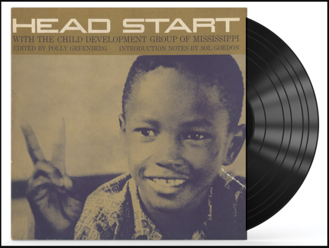 Vinyl LP with little boy making peace sign