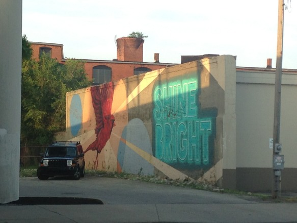 Shine Bright cardinal mural downtown Louisville Kentucky