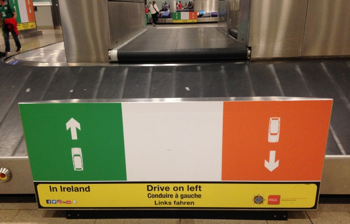 Drive on left airport sign Dublin Ireland