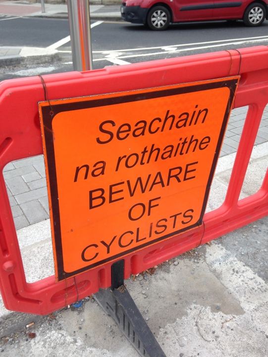 Beware of Cyclists sign Dublin Ireland