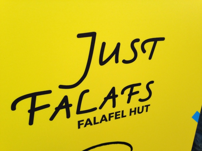 Just Falafs funny falafel sign